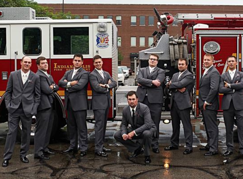 wedding photos with fire truck